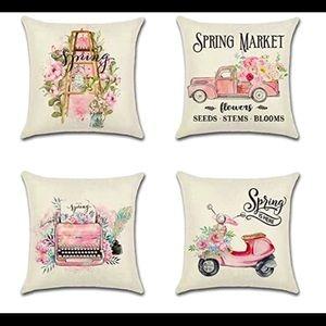 "Set of 4 Spring theme pillow cases 18""x 18"""